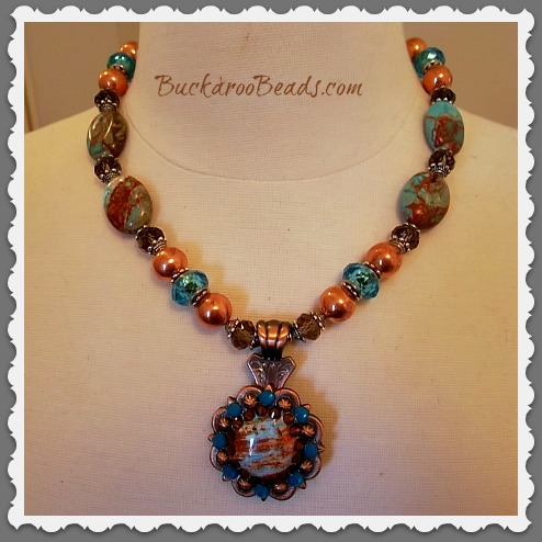 Turquoise & Copper Rhinestone Concho Necklace