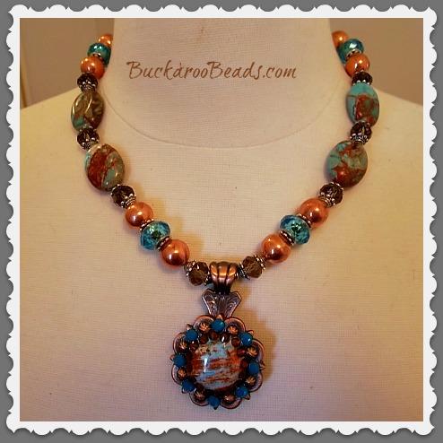 Turquoise & Copper Rhinestone Concho Necklace
