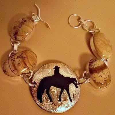 Western Pleasure Jasper Stone Concho Bracelet