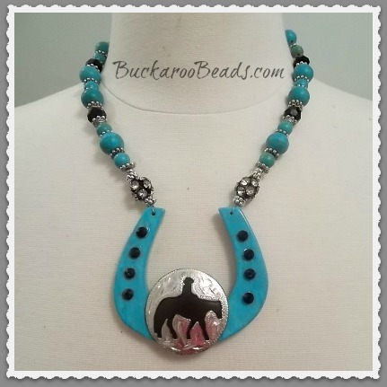 Western Pleasure Turquoise Horseshoe Necklace