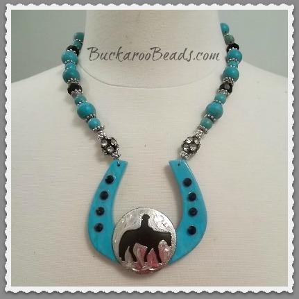 Western Pleasure Turquoise Horseshoe Necklace