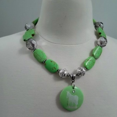 God Created Mules Green Crosses Necklace