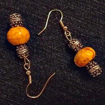 Silvertone and Howlite Rodelle Earrings