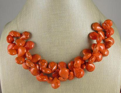 Orange Howlite Teardrops