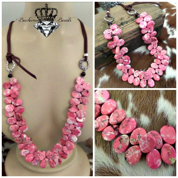 Cowgirl Pink Teardrops and Leather Necklace
