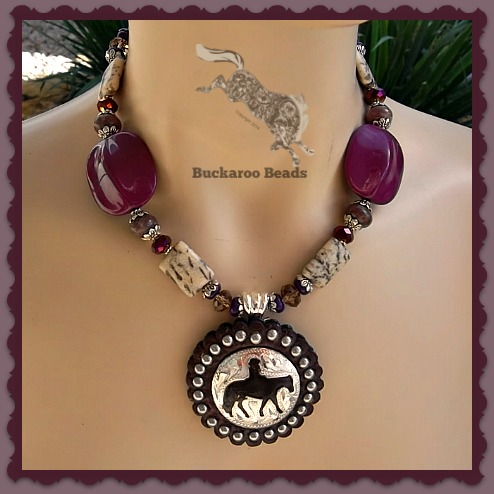 Purple and Brown Western Pleasure Horse Concho Necklace