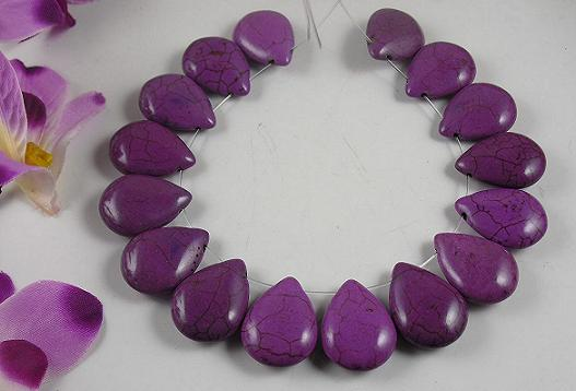 purple howlite  pear shape beads
