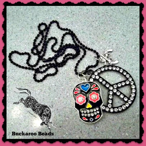 Sugar Skull Peace and Pistols Necklace