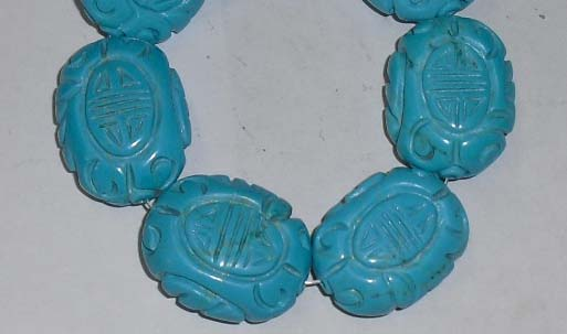 Carved turquoise howlite pendants 20-30mm
