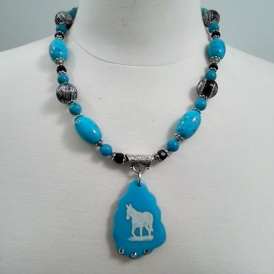 Turquoise and Black Mule Necklace