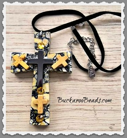 Yellow Black Mossaic Cross